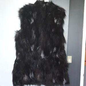 Jackets & Blazers - Hooded Genuine Fox Fur Vest XL
